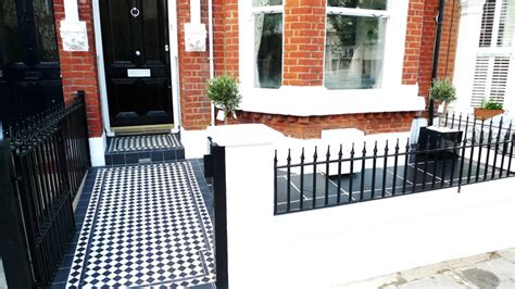 geometric black and white tile path