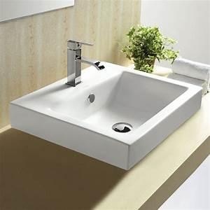 vasque a encastrer par dessus rectangulaire 50x44 cm With salle de bain design avec vasque a poser avec trop plein