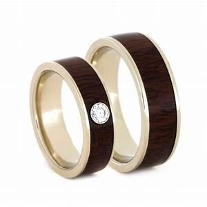 wood wedding band set white gold ring set ipe wood With wood and gold wedding rings
