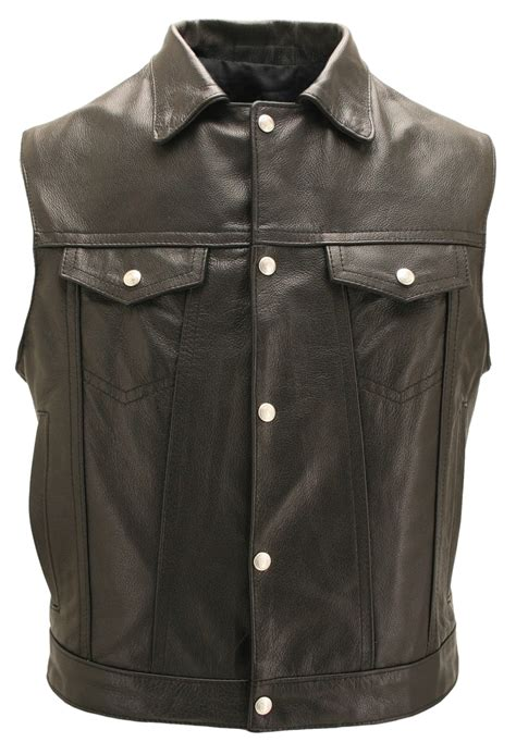 motorcycle vest  snap  collar  gun pockets