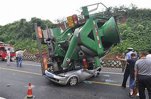 Crash in China sees car flattened by a cement mixer as ...