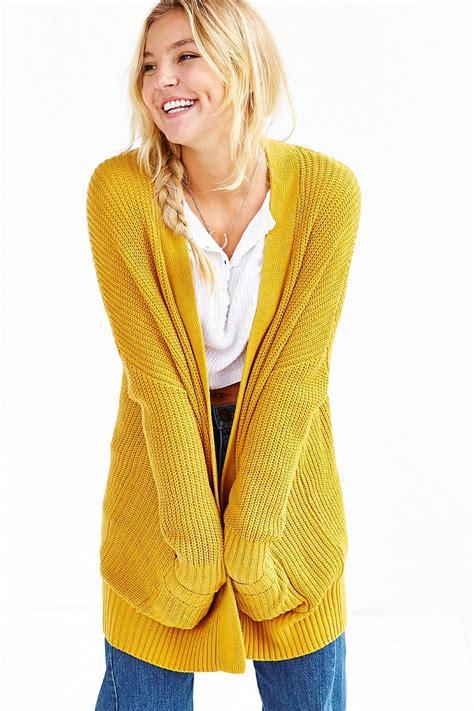 yellow cardigan sweater bdg cardigan in yellow mustard lyst