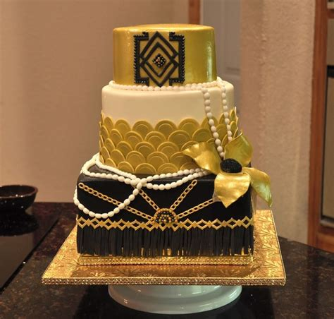 great gatsby themed party cake art deco style  gold