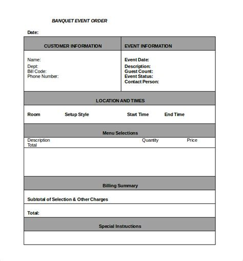 banquet event order template 20 order template word excel pdf free premium templates