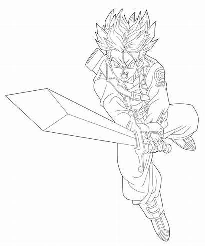 Future Trunks Lineart Ssj Sketch Dbz Drawing