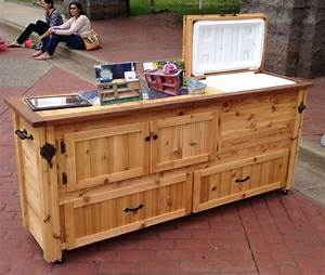 Custom Outdoor Cabinet, Rustic Cooler, Outdoor Bar Cart