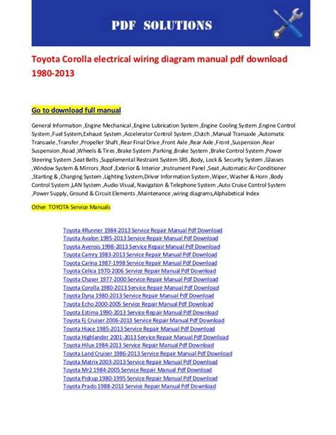 download car manuals pdf free 1996 toyota corolla electronic throttle control toyota corolla electrical wiring diagram manual pdf download 1980 2013