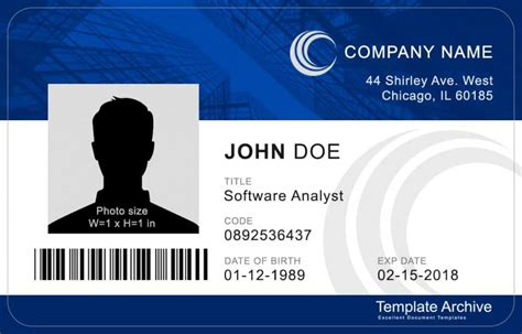 id badge id card templates  template archive