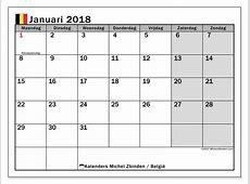 Kalenders om af te drukken januari 2018 België