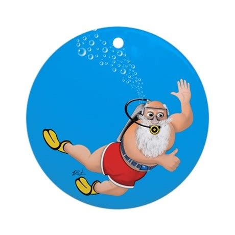 scuba diving santa christmas holiday ornament by