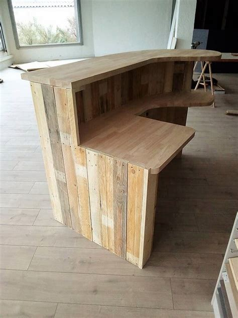 wood pallet shop counter  reception desk pallet wood