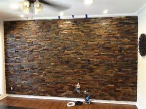 Fake Wood Floor by Interior Ledger Stone Wall Application Rustic Los