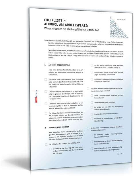 alkohol  arbeitsplatz erkennen checkliste zum