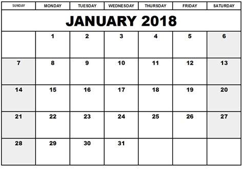Free Calendar Template Printable Calendar 2018 Free January 2018 Printable