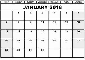 printable calendar 2018 free january 2018 printable With calnedar template