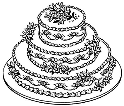 beautiful wedding cake coloring pages  place  color