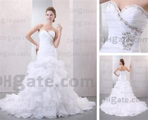 Wedding Dresses Organza Sweetheart Mermaid Semi Cathedral
