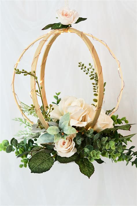 diy lighted hanging embroidery hoop orb wedding decor