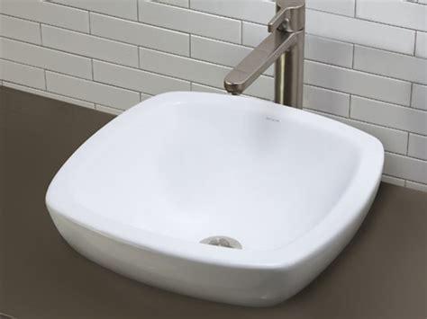 Square White Ceramic Semi Recessed Vessel With Curved Rim