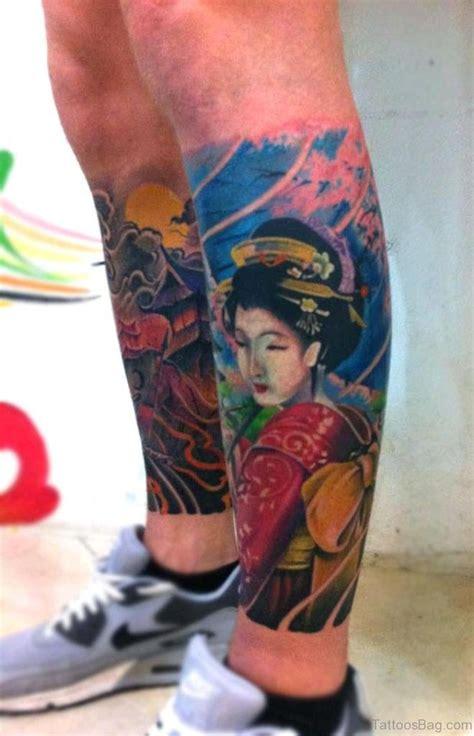graceful geisha tattoos  leg