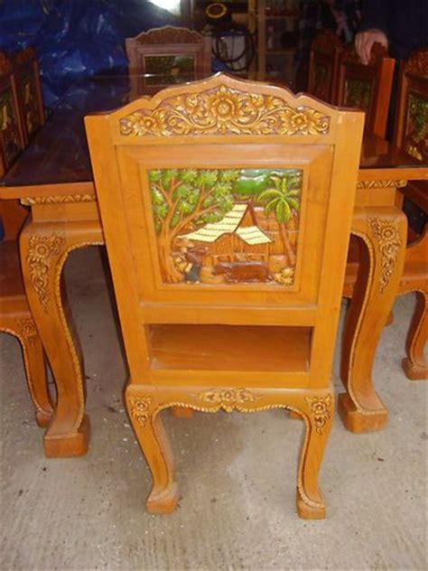 large thai carved dining table and 8 chairs ebay