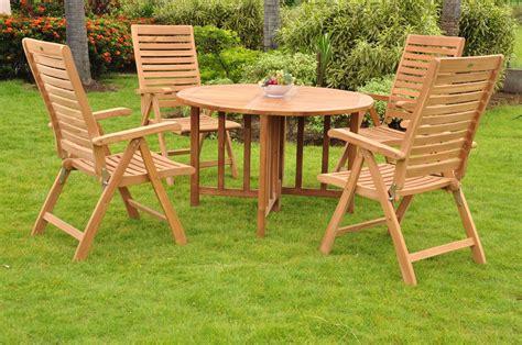 5 pc dining teak set garden outdoor patio furniture