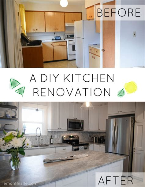 our oak lazy before and after diy kitchen renovation lemon thistle