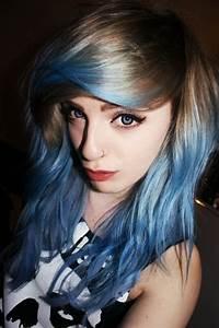 Hair Dark Blonde Light Brown Blue Dip Dye Hairspiration