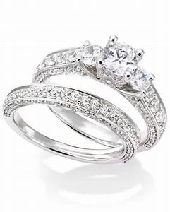 macy39s certified diamond three stone engagement ring With macy s wedding rings sets
