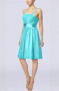 turquoise plain a line spaghetti chiffon mini sash wedding With turquoise dress for wedding guest