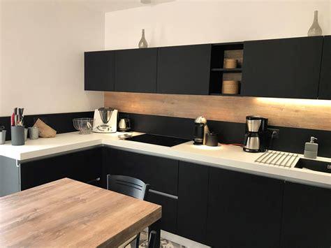 beautiful cuisine noir et blanc et bois pictures design