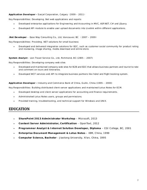 lotus developer resume