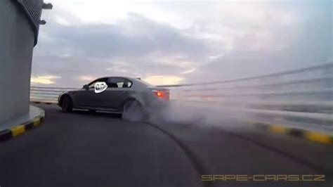 this bmw m5 e60 performs a killer drift all the way up a parking garage