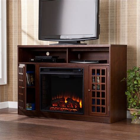 electric fireplace tv stands southern enterprises narita espresso w electric fireplace