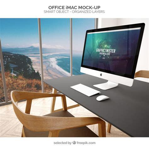 bureau pour imac bureau imac maquette télécharger psd gratuitement