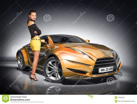 Girl And Sports Car Stock Image  Image 19550321
