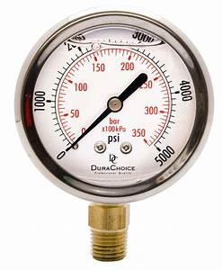 2-1  2 U0026quot  Oil Filled Pressure Gauge  Br 1  4 U0026quot  Npt Lower