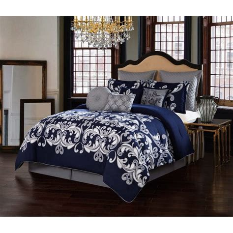 6068 navy blue and gray bedding v19 69 italia navy 10 comforter set free shipping