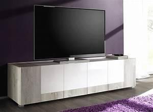 Meuble Bois Et Blanc : meuble tv blanc laqu et bois id es de d coration int rieure french decor ~ Teatrodelosmanantiales.com Idées de Décoration