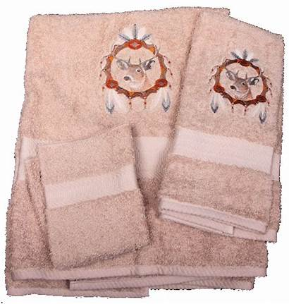Deer Dream Catcher Towels Bath Tail Embroidered