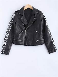 letter pattern lapel collar pu leather jacket in black With leather jacket lettering