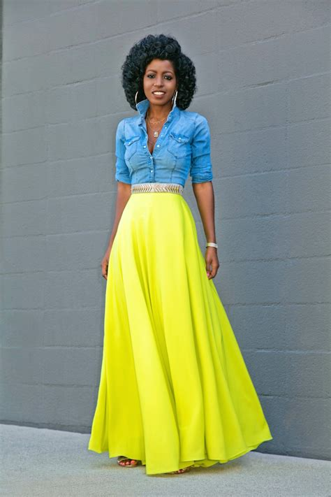 Style Pantry   Fitted Denim Shirt + Neon Maxi Skirt