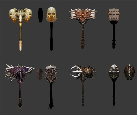 war god hammers weapon concept ascension weapons dwarven characters hammer fantasy game skyrim anime artwork warhammer swords armors rpg character