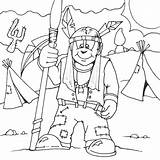 Spear Indian Coloring Indians Printable Seipp Drawn Dave sketch template