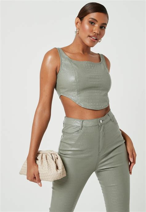 green mock croc faux leather corset crop top missguided