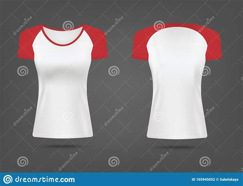 Toddler t shirt mockup free. Mockup Of Women T-shirt With Red Sleeves Realistic Vector ...