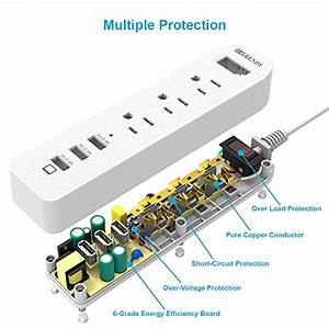 Power Strip Surge Protector 3 Ac Outlets With 3 Usb Ports