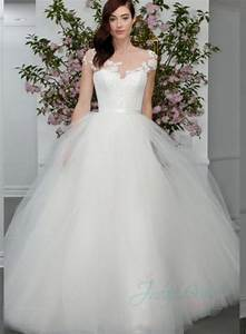 jw16008 latest sheer top princess tulle ball gown wedding With sheer top wedding dress