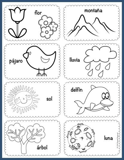 spanish vocabulary picture cards  theme spanish playground