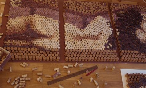 artist creates masterpiece  recycled wine corks